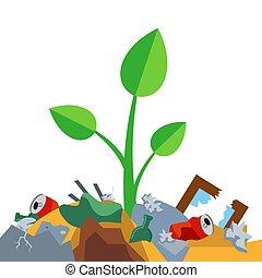 déchets, pousse, tas, grows