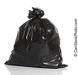 déchets, sur, isolé, whi, sac, noir