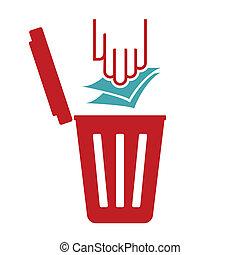 déchets, symbole, papier, recycler, -