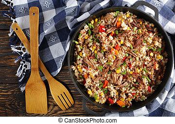 déchiqueté, délicieux, riz, juteux, boeuf