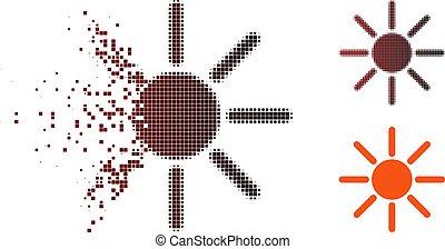déchiqueté, halftone, icône, pixel, luminosité