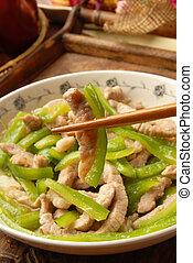 déchiqueté, poivre vert, viande