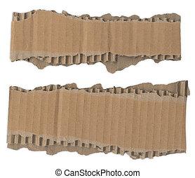 déchiré, bandes, carton