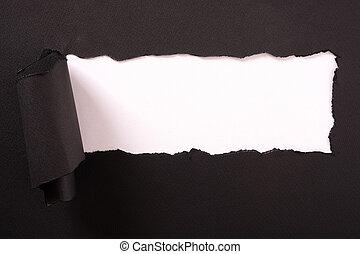 déchiré, bord, papier, arrière-plan noir, bande, blanc, frisé