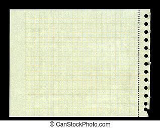 déchiré, carré, jaune, relieur, papier, anneau, dehors