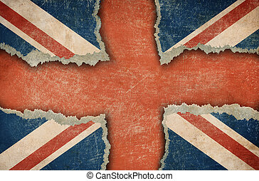 déchiré, carton, drapeau, britannique, formulaire