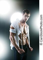 déchiré, chemise, musculaire, sexy, blanc mâle