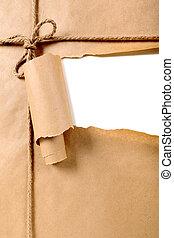 déchiré, colis papier brun, fond