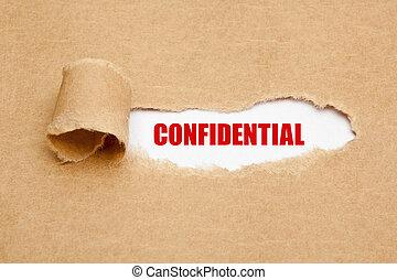déchiré, confidentiel, papier, concept