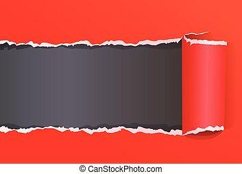 déchiré, couleur, message, papier, espace, emballé, copie, rouges