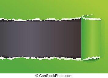 déchiré, couleur, message, papier, espace, emballé, copie, vert