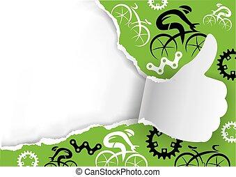 déchiré, cyclisme, icônes, haut, papier, pouces