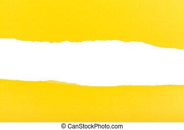 déchiré, feuille, divisé, jaune, moitiés, papier