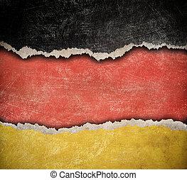 déchiré, grunge, allemand, modèle, drapeau, papier