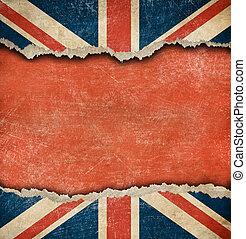 déchiré, grunge, espace, grand, drapeau britannique, papier, vide