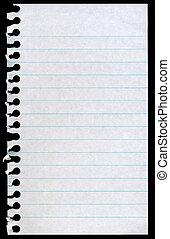 déchiré, isolé, arrière-plan., papier lettres, noir, page blanche