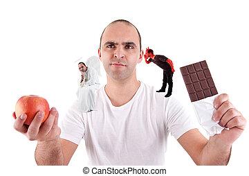 déchiré, jeune, chocolat, ange, diable, entre, homme, pomme mangeant, blanc