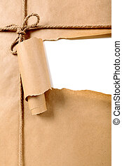 déchiré, papier brun, fond, paquet