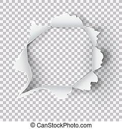 déchiré, papier déchiré, fond, trou, transparent