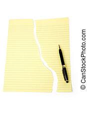 déchiré, papier, lettre