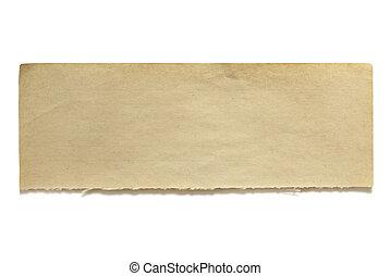 déchiré, papier lettres, bannière, vieux