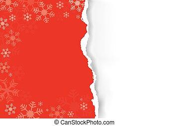 déchiré, papier, noël, rouges
