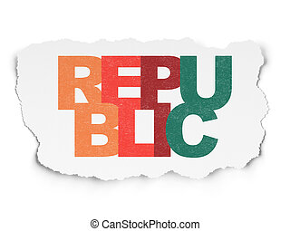 déchiré, politique, papier, république, fond, concept: