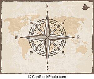 déchiré, silhouette, vent, texture, papier, bateau, vieux, fond, frontière, logo, frame., nautique, vecteur, mondiale, vendange, carte, compass., rose.