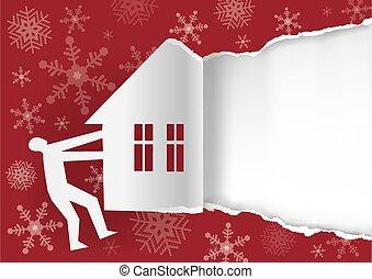 déchiré, template., rouges, invitation, fond, hiver, concept, papier