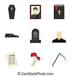 déchirure, icônes, ensemble, plat, style