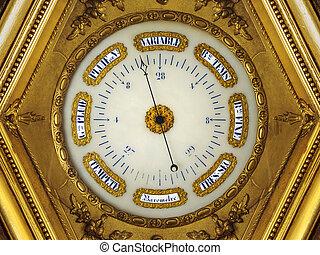 décimo nono século, dourado, barômetro