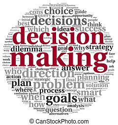 décision, concept, étiquette, nuage