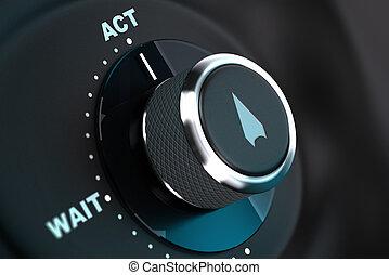 décision, concept, image., aides, proactivity