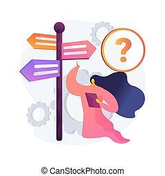 décision, illustration., concept, confection, résumé, vecteur
