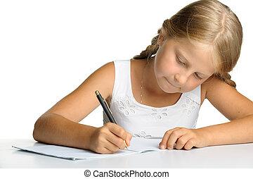 décision, lessons., écrit, girl, writing-books.