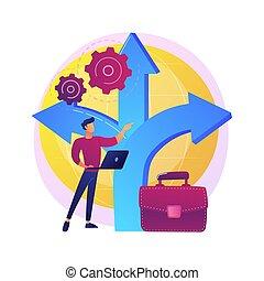décision, métaphore, concept, vecteur, gestion