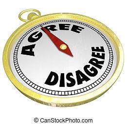 décision, ne pas être d'accord, consensus, vs, mots, compas,...