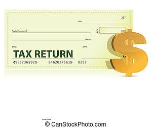 déclaration impôt, chèque, illustration