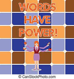 déclarations, photo, quatre, dire, avoir, réalité, ton, power., capacité, ouvriers, bras, écriture, needed, item., conceptuel, vous, affaires femme, obliquement, projection, main, étendre, mots, changement, showcasing