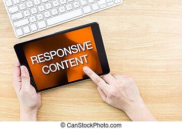 déclic, clavier, doigt, bois, sensible, écran, site web, conception, table, contenu, concept, mot
