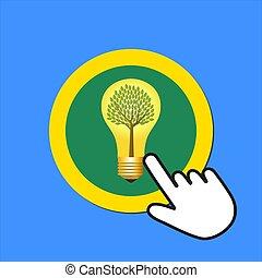 déclics, arbre, curseur, lightbulb, main, eco, concept., intérieur, icon., button., énergie, souris