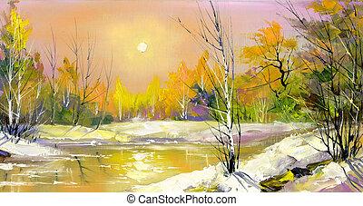 déclin, bois, rivière