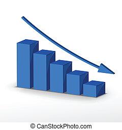 déclin, concept, business, graph., vecteur, 3d