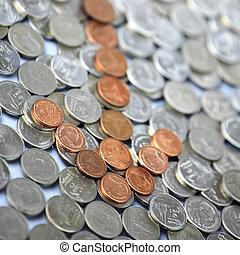 déclin, pièces., concept, financier, flèche