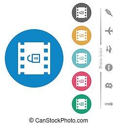 décoder, rond, film, icônes, plat