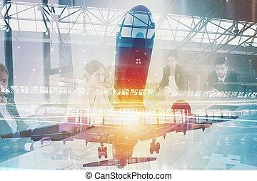 décoller, de, une, avion, à, double exposition, de, aéroport