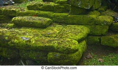 décombres, ruines, fromancient, murs, tas, roche pierre, temple, moussu