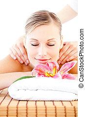 décontracté, apprécier, massage dorsal, femme, clair