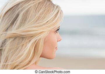 décontracté, fin, blonds, plage, haut, jeune