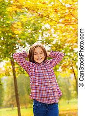 décontracté, pose, parc, automne, dehors, girl